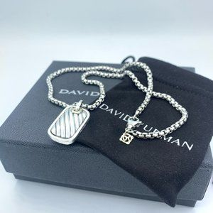 David Yurman Silver & 14k Gold Dog Tag Necklace